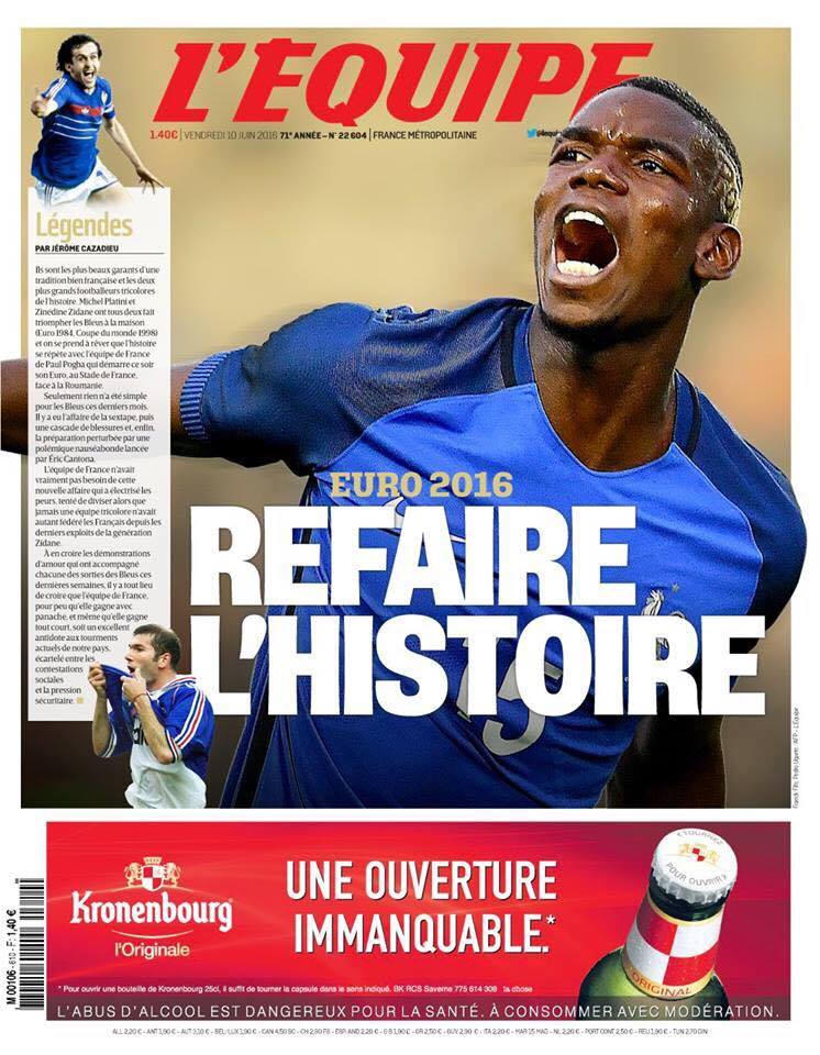 """La prima pagina di oggi di """"L'Équipe"""""""