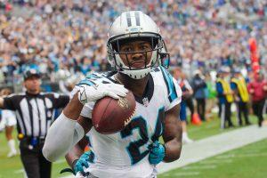 Sep 27, 2015; Charlotte, NC, USA; Carolina Panthers cornerback Josh Norman (24) celebrates after intercepting a pass in the fourth quarter against the New Orleans Saints at Bank of America Stadium. Carolina defeated the Saints 27-22. Mandatory Credit: Jeremy Brevard-USA TODAY Sports
