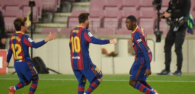Mandatory Credit: Photo by Bagu Blanco/Pressinphoto/Shutterstock 11845505bb Ousmane Dembele of FC Barcelona, Barca celebrates his goal with Lionel Messi and Riqui Puig FC Barcelona v Real Valladolid, LaLiga Santander, date 29. Football, Camp Nou Stadium, Barcelona, Spain - 5 APR 2021 EDITORIAL USE ONLY No use with unauthorised audio, video, data, fixture lists outside the EU, club/league logos or live services. Online in-match use limited to 45 images 15 in extra time. No use to emulate moving images. No use in betting, games or single club/league/player publications/services. FC Barcelona v Real Valladolid, LaLiga Santander, date 29. Football, Camp Nou Stadium, Barcelona, Spain - 5 APR 2021 EDITORIAL USE ONLY No use with unauthorised audio, video, data, fixture lists outside the EU, club/league logos or live services. Online in-match use limited to 45 images 15 in extra time. No use to emulate moving images. No use in betting, games or PUBLICATIONxINxGERxSUIxAUTXHUNxGRExMLTxCYPxROMxBULxUAExKSAxONLY Copyright: xBaguxBlanco/Pressinphoto/Shutterstockx 11845505bb