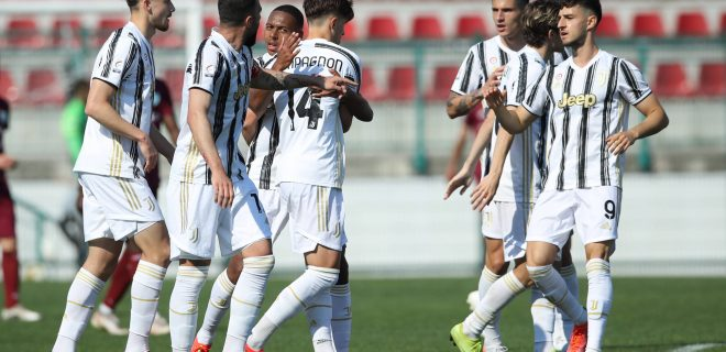 Alessandria, Italy, 22nd April 2021. Mattia Compagnon of Juventus celebrates with team mates after scoring to level the game at 1-1 during the Serie C match at Stadio Giuseppe Moccagatta - Alessandria. Picture credit should read: Jonathan Moscrop / Sportimage PUBLICATIONxNOTxINxUK SPI-1022-0045