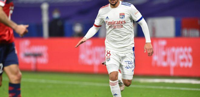 Houssem Aouar lyon FOOTBALL : Olympique Lyonnais vs Lille Olympique Sporting Club - Ligue 1 Uber Eats - 25/04/2021 FredericChambert/Panoramic PUBLICATIONxNOTxINxFRAxITAxBEL