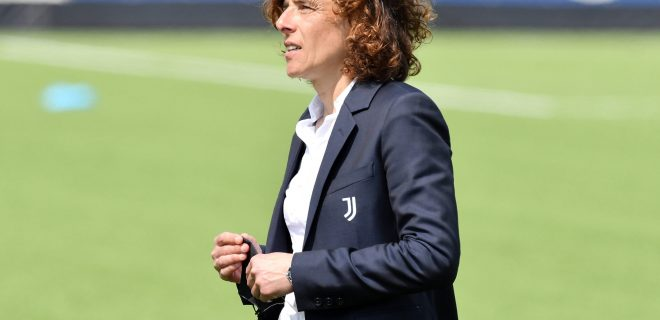 Rita Guarino, coach of Juventus FC reacts at the end of the Women Italy cup semifinal second leg match between Juventus FC and AS Roma at Ale & Ricky stadium in Vinovo Torino, Italy, April 25th 2021. As Roma qualified for the final. Photo Giuliano Marchisciano / OnePlusNine / Insidefoto giulianoxmarchisciano