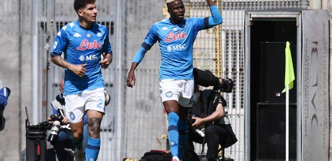 Spezia 08/05/2021 - campionato di calcio serie A / Spezia-Napoli / foto Image nella foto: esultanza gol Viktor Osimhen PUBLICATIONxNOTxINxITA