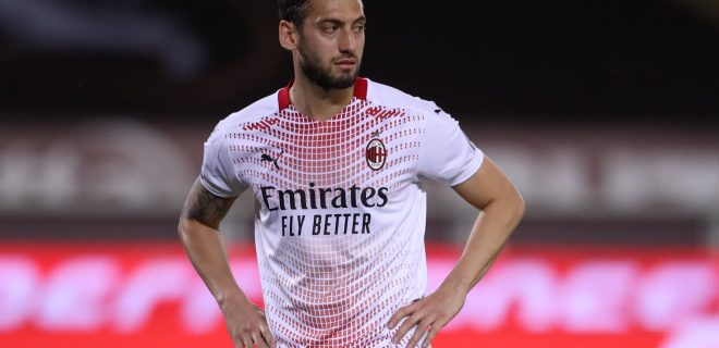 Turin, Italy, 12th May 2021. Hakan Calhanoglu of AC Milan reacts during the Serie A match at Stadio Grande Torino, Turin. Picture credit should read: Jonathan Moscrop / Sportimage PUBLICATIONxNOTxINxUK SPI-1047-0074