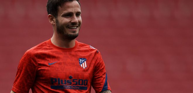 Atletico de Madrid v C.A. Osasuna - La Liga Santander Saul Niguez of Atletico Madrid during the warm-up before the La Liga Santander match between Atletico de Madrid and C.A. Osasuna at Estadio Wanda Metropolitano on May 16, 2021 in Madrid, Spain. Sporting stadiums around Spain remain under strict restrictions due to the Coronavirus Pandemic as Government social distancing laws prohibit fans inside venues resulting in games being played behind closed doors. Madrid Spain breton-atletico210516_np2X8 PUBLICATIONxNOTxINxFRA Copyright: xJosexBretonx