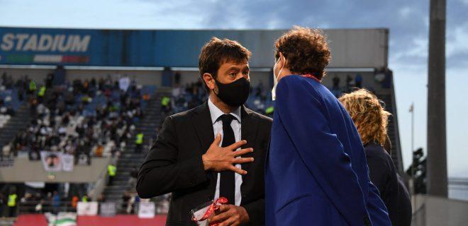 Andrea Agnelli President Juventus John Philip Jacob Elkann  Exor  during the Italian Serie A Italy Cup match between Atalanta 1-2 Juventus at Mapei Stadium on May. 19, 2021 in Reggio Emilia, Italy. Noxthirdxpartyxsales PUBLICATIONxNOTxINxJPN 160667516