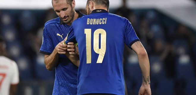Giorgio Chiellini of Italy injured with Leonardo Bonucci of Italy during the UEFA EURO, EM, Europameisterschaft,Fussball 2020 Group stage - Group A football match between Italy and Switzerland at stadio Olimpico in Rome Italy, June 16th, 2021. Photo Andrea Staccioli / Insidefoto andreaxstaccioli