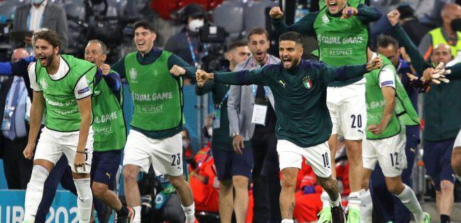 SQUADRA, MANUEL LOCATELLI, ALESSANDRO BASTONI, LORENZO INSIGNE, FEDERICO BERNARDESCHI, Italia, UEFA EURO, EM, Europameisterschaft,Fussball 2020, Quarter Final, Belgium vs Italy 1-2, Munich EURO 2020 QUARTI DI FINALE BELGIO-ITALIA 1-2