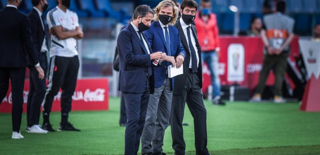Fabio Paratici, Pavel Nedved and Andrea Agnelli wearing protective mask due to covid19 disease during the Coca-Cola Italian Cup Final match between SSC Napoli and FC Juventus at Stadio Olimpico, Rome, Italy on 17 June 2020. PUBLICATIONxNOTxINxUK Copyright: xGiuseppexMaffiax 234123