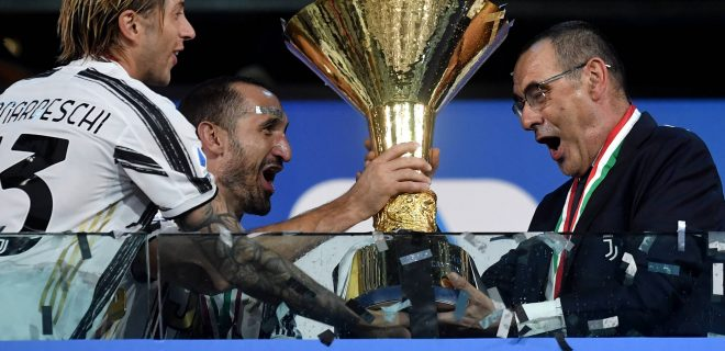 Federico Bernardeschi, Giorgio Chiellini and the coach Maurizio Sarri celebrate the victory of the italian championship at the end of the Serie A football match between Juventus FC and AS Roma at Juventus stadium in Turin Italy, August 1st, 2020. AS Roma won 3-1 over Juventus. Juventus has won its ninth consecutive italian championship. Photo Andrea Staccioli / Insidefoto andreaxstaccioli