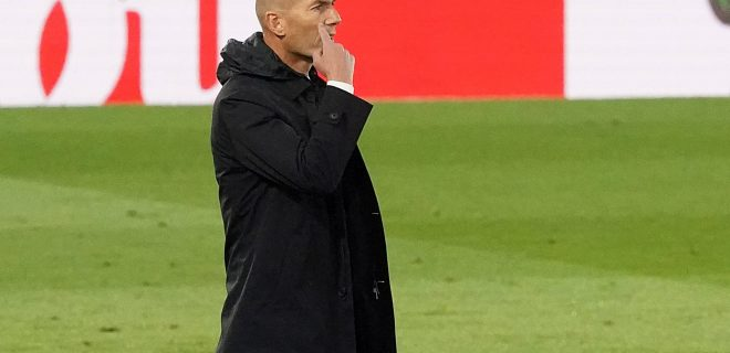 Real Madrid s coach Zinedine Zidane during La Liga match. May 9, 2021. 20210509783