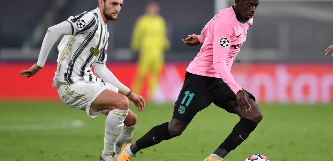 Adrien Rabiot of Juventus FC and Ousmane Dembele of Barcelona during the Champions League Group Stage G football match between Juventus FC and Barcelona at Juventus stadium in Torino Italy, October, 28th, 2020. Photo Andrea Staccioli / Insidefoto andreaxstaccioli