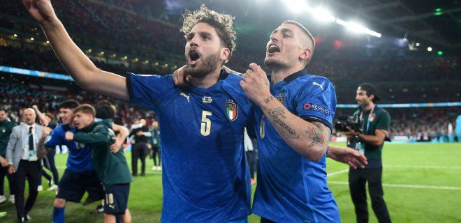 Londra Inghilterra 11/07/2021 - Euro 2020 / Italia-Inghilterra / foto Image nella foto: Marco Verratti-Manuel Locatelli PUBLICATIONxNOTxINxITA