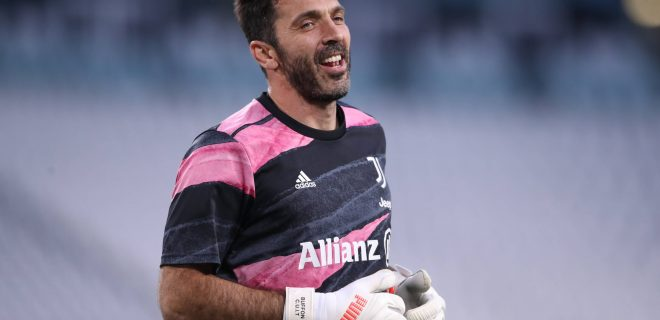 Turin, Italy, 21st April 2021. Gianluigi Buffon of Juventus reacts during the warm up prior to the Serie A match at Allianz Stadium, Turin. Picture credit should read: Jonathan Moscrop / Sportimage PUBLICATIONxNOTxINxUK SPI-1012-0030
