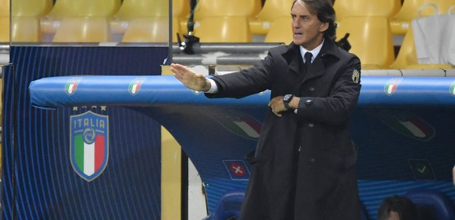 Roberto Mancini, coach of Italy, during the FIFA World Cup, WM, Weltmeisterschaft, Fussball 2022 qualification football match between Italy and Northerrn Ireland at stadio Ennio Tardini in Parma Italy, March 25th, 2021. Photo Andrea Staccioli / Insidefoto andreaxstaccioli